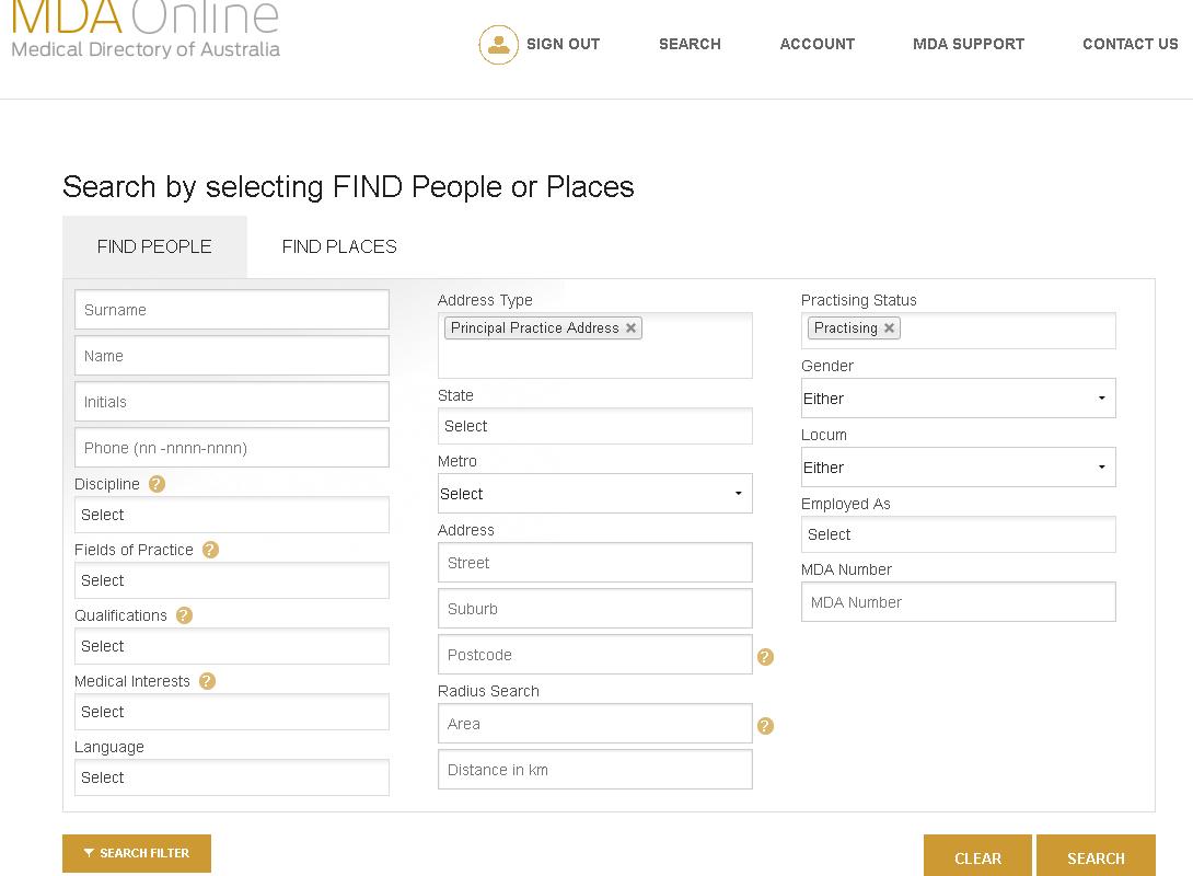 Homepage MDA Online screen